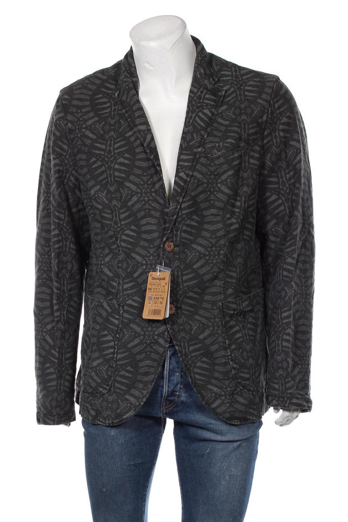 Мъжко сако Desigual, Размер XL, Цвят Сив, 52% лен, 48% памук, Цена 111,37лв.