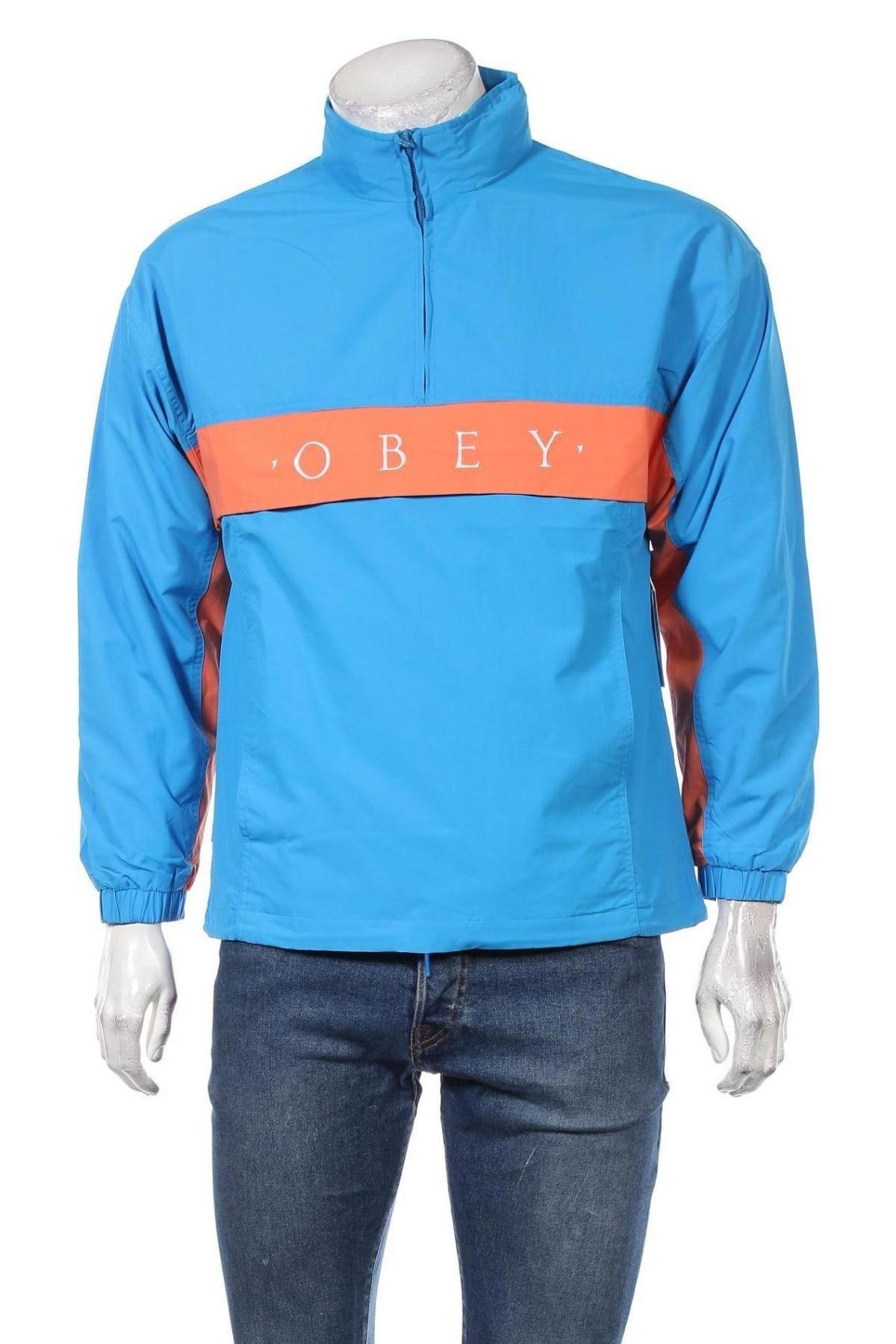 Мъжко спортно яке Obey, Размер S, Цвят Син, Полиамид, Цена 69,65лв.