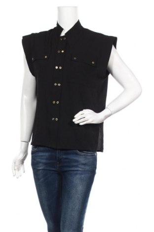 Γυναικείο πουκάμισο Chattawak, Μέγεθος M, Χρώμα Μαύρο, 97% πολυεστέρας, 3% ελαστάνη, Τιμή 10,09€