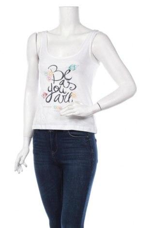 Γυναικείο αμάνικο μπλουζάκι Springfield, Μέγεθος XS, Χρώμα Λευκό, Βαμβάκι, Τιμή 4,76€