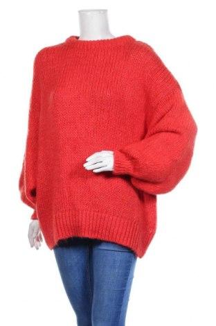 Дамски пуловер Zara Knitwear, Размер M, Цвят Червен, 59% акрил, 20% полиестер, 14% вълна, 7% мохер, Цена 30,35лв.