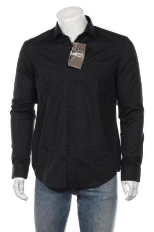 Мъжка риза Man's World, Размер M, Цвят Черен, 55% памук, 45% полиестер, Цена 27,00лв.