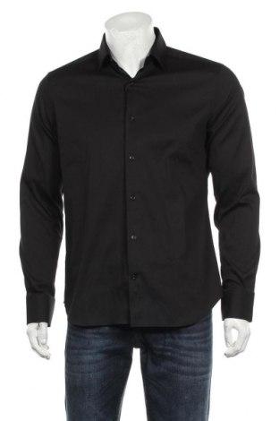 Мъжка риза Massimo Dutti, Размер M, Цвят Черен, 78% памук, 18% полиамид, 4% еластан, Цена 66,75лв.