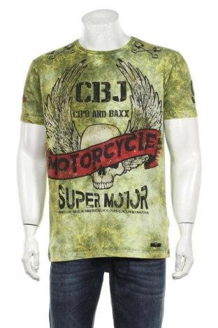 Мъжка тениска Cipo & Baxx, Размер XL, Цвят Зелен, 95% памук, 5% еластан, Цена 27,00лв.