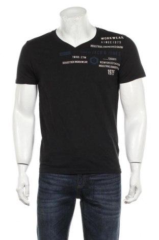 Мъжка тениска Core By Jack & Jones, Размер L, Цвят Черен, Памук, Цена 27,30лв.