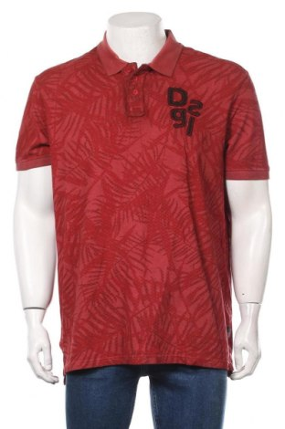 Мъжка тениска Desigual, Размер XL, Цвят Червен, Памук, Цена 44,50лв.