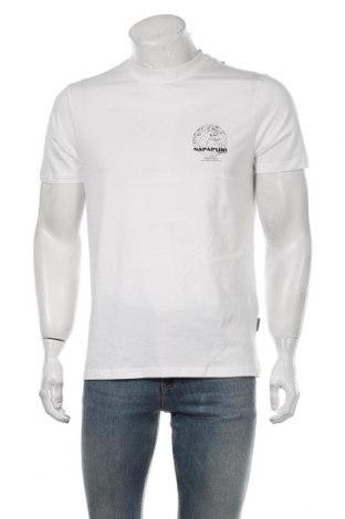 Мъжка тениска Napapijri, Размер L, Цвят Бял, Памук, Цена 48,95лв.