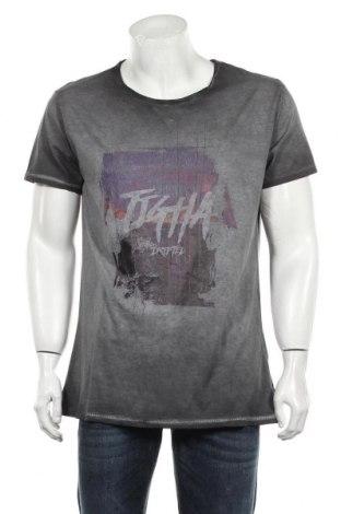 Мъжка тениска Tigha, Размер XL, Цвят Сив, Памук, Цена 43,45лв.