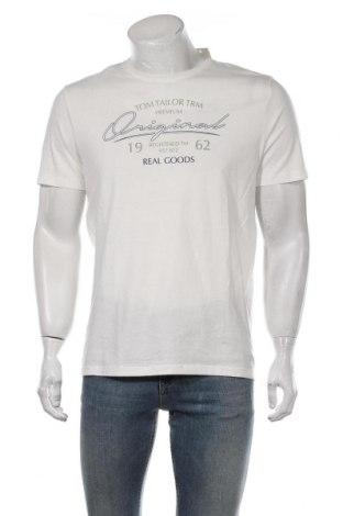 Мъжка тениска Tom Tailor, Размер M, Цвят Бял, Памук, Цена 16,80лв.