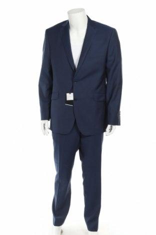 Costum de bărbați Cortefiel, Mărime XL, Culoare Albastru, Lână, Preț 848,52 Lei