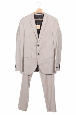 Costum de bărbați Jack & Jones, Mărime M, Culoare Bej, 74% poliester, 23% viscoză, 3% elastan, Preț 323,85 Lei
