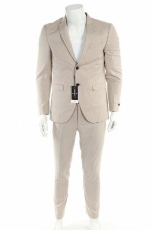 Męski garnitur Jack & Jones, Rozmiar L, Kolor Beżowy, 74% poliester, 23% wiskoza, 3% elastyna, Cena 273,75zł