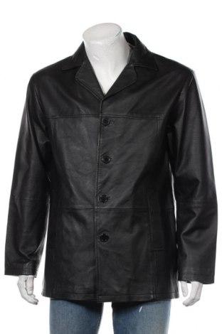 Мъжко кожено яке Manguun, Размер M, Цвят Черен, Естествена кожа, Цена 17,06лв.