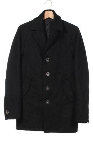 Мъжко палто, Размер S, Цвят Черен, 60% вълна, 40% полиестер, Цена 14,96лв.