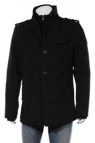 Мъжко палто, Размер XL, Цвят Черен, 55% вълна, 45% полиестер, Цена 58,80лв.
