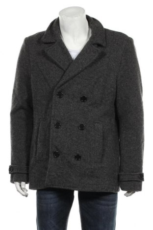 Мъжко палто C&A, Размер XL, Цвят Сив, 54% вълна, 46% полиестер, Цена 17,06лв.