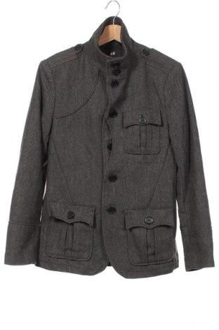 Мъжко палто H&M, Размер M, Цвят Сив, 51% вълна, 37% полиестер, 6% акрил, 6% други нишки, Цена 30,87лв.