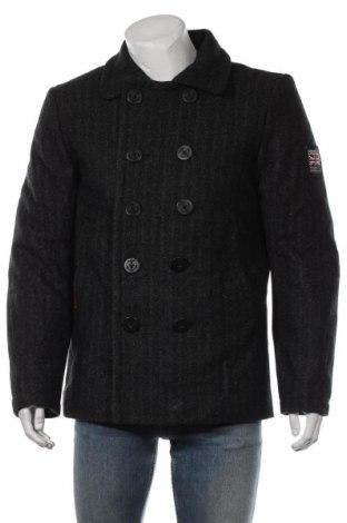 Мъжко палто Superdry, Размер XL, Цвят Черен, 68% вълна, 20% полиестер, 4% акрил, 4% полиамид, 3% вискоза, 1% памук, Цена 124,69лв.