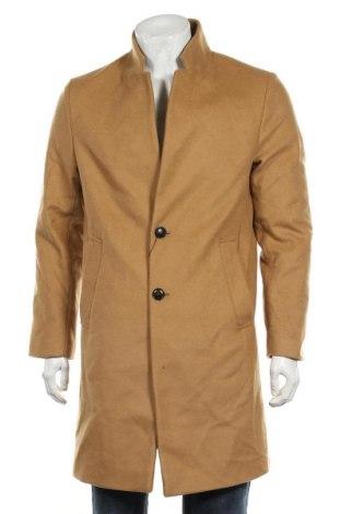 Мъжко палто Zara, Размер M, Цвят Кафяв, 77% вълна, 22% полиамид, 1% други нишки, Цена 116,07лв.