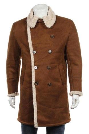 Мъжко палто Zara Man, Размер M, Цвят Кафяв, Полиестер, Цена 78,80лв.