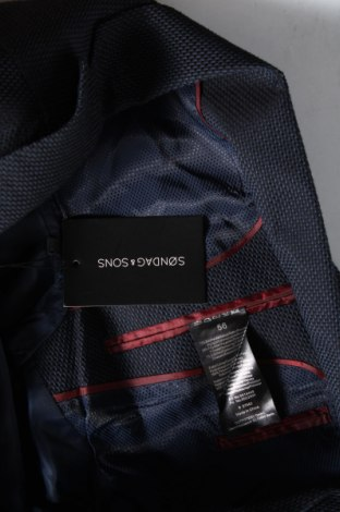 Мъжко сако Sondag & Sons, Размер XL, Цвят Син, 75% памук, 24% полиестер, 1% еластан, Цена 51,17лв.