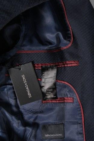 Мъжко сако Sondag & Sons, Размер L, Цвят Син, 75% памук, 24% полиестер, 1% еластан, Цена 51,17лв.