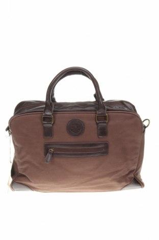 Пътна чанта Le Temps Des Cerises, Цвят Кафяв, Текстил, естествена кожа, Цена 61,92лв.