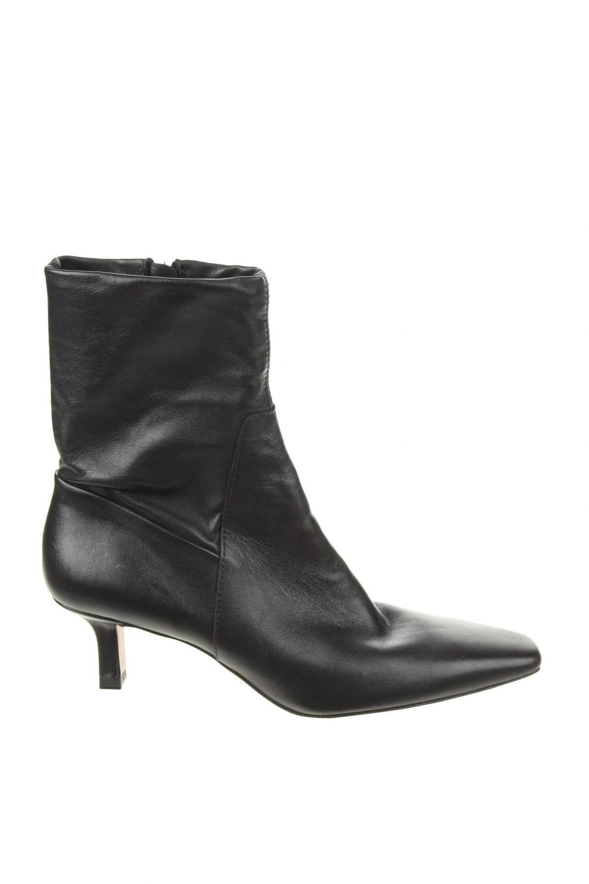 Γυναικεία μποτάκια Zara, Μέγεθος 41, Χρώμα Μαύρο, Γνήσιο δέρμα, Τιμή 16,48€