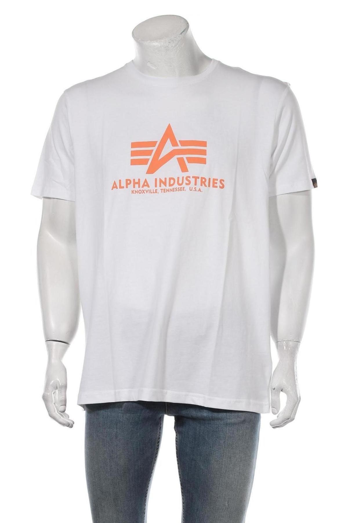 Мъжка тениска Alpha Industries, Размер XXL, Цвят Бял, Памук, Цена 40,02лв.