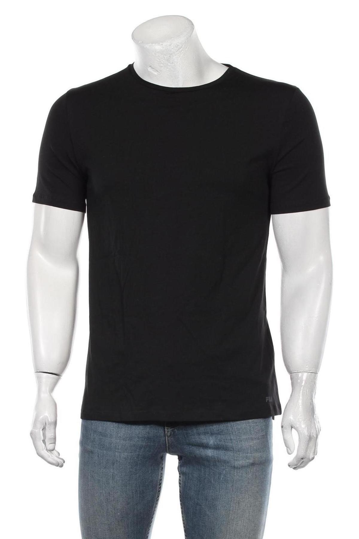 Мъжка тениска Fila, Размер L, Цвят Черен, 67% памук, 28% полиестер, 5% еластан, Цена 29,25лв.