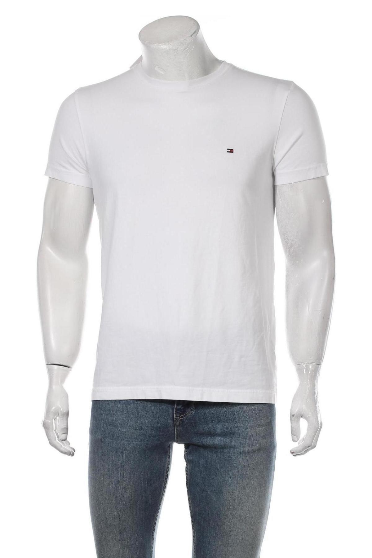 Мъжка тениска Tommy Hilfiger, Размер L, Цвят Бял, 95% памук, 5% еластан, Цена 51,62лв.