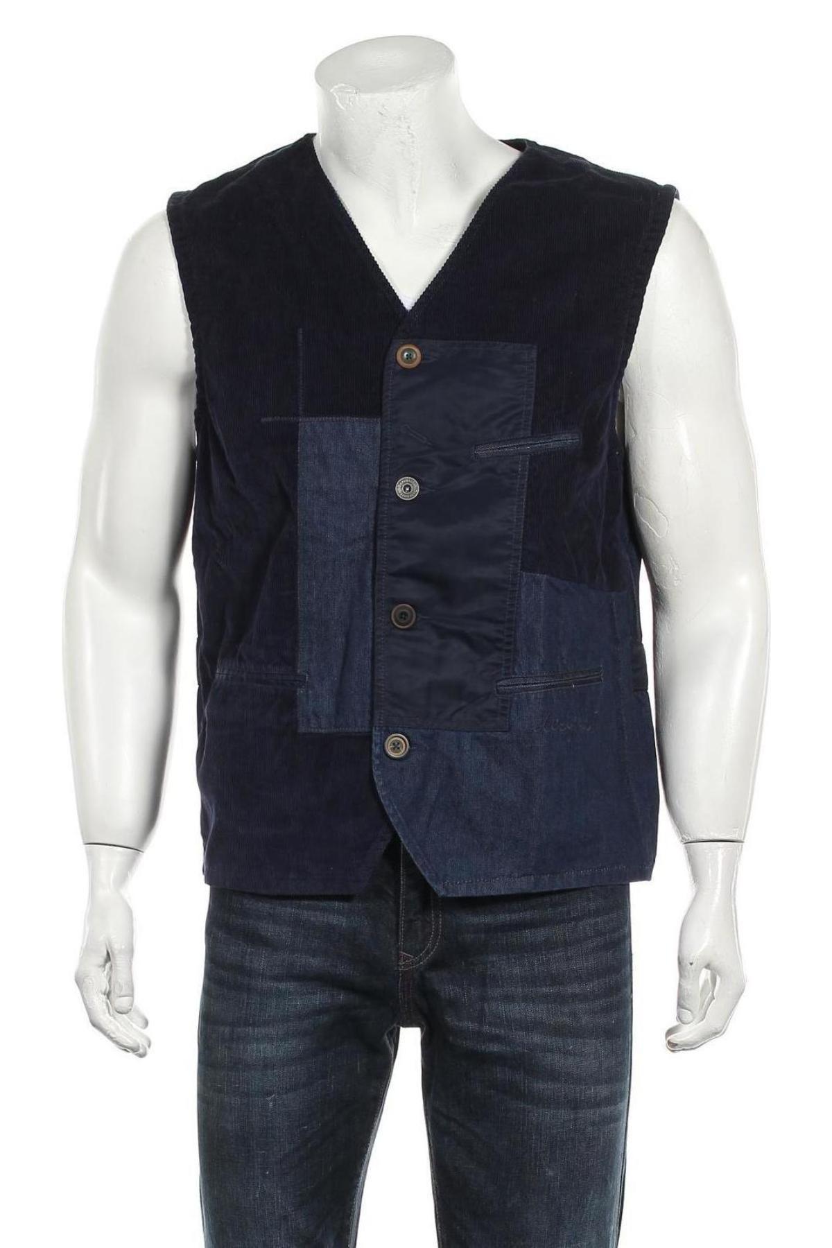 Мъжки елек Desigual, Размер XL, Цвят Син, 80% памук, 20% вискоза, Цена 65,36лв.