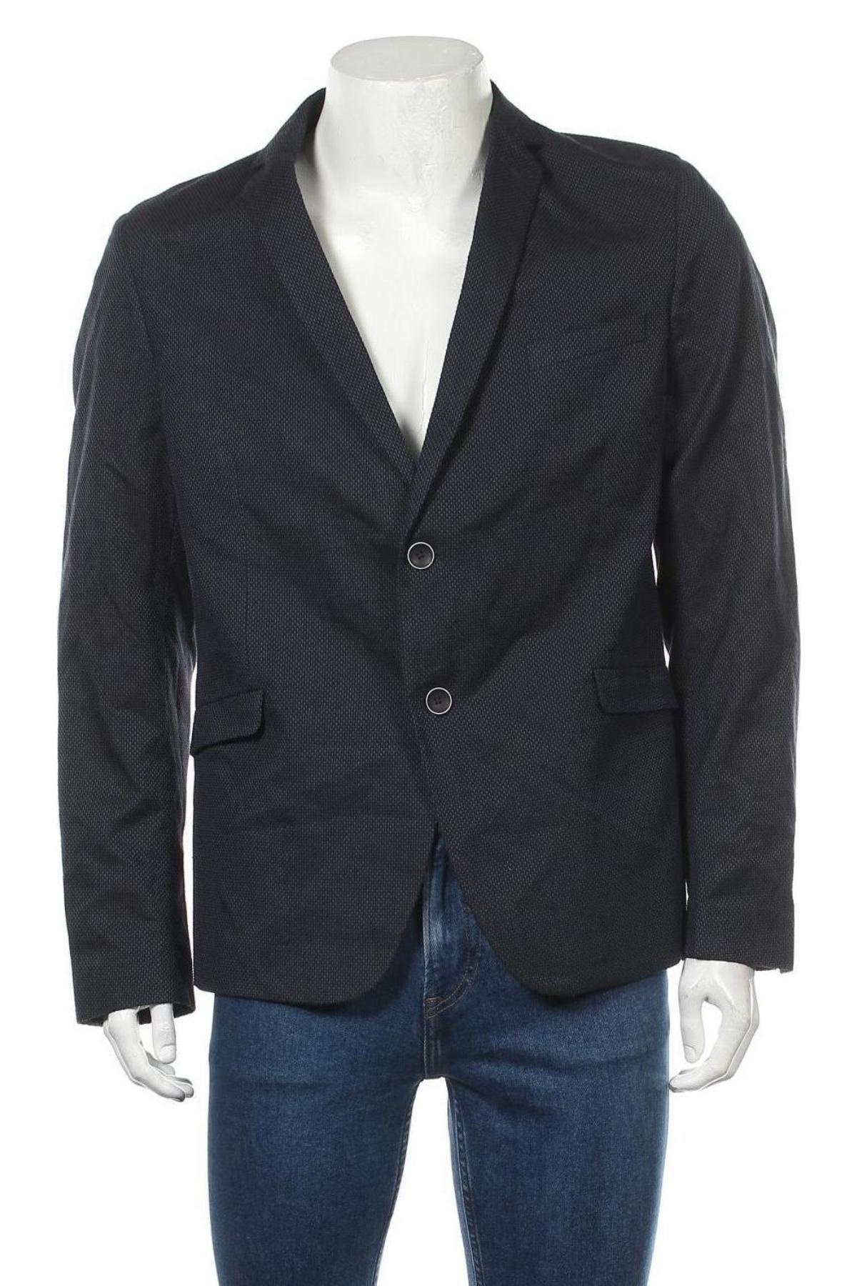 Мъжко сако Sondag & Sons, Размер L, Цвят Син, 75% памук, 24% полиестер, 1% еластан, Цена 47,60лв.