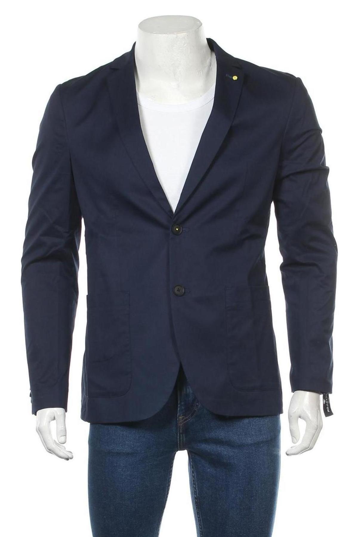 Мъжко сако Tom Tailor, Размер M, Цвят Син, 98% памук, 2% еластан, Цена 47,70лв.