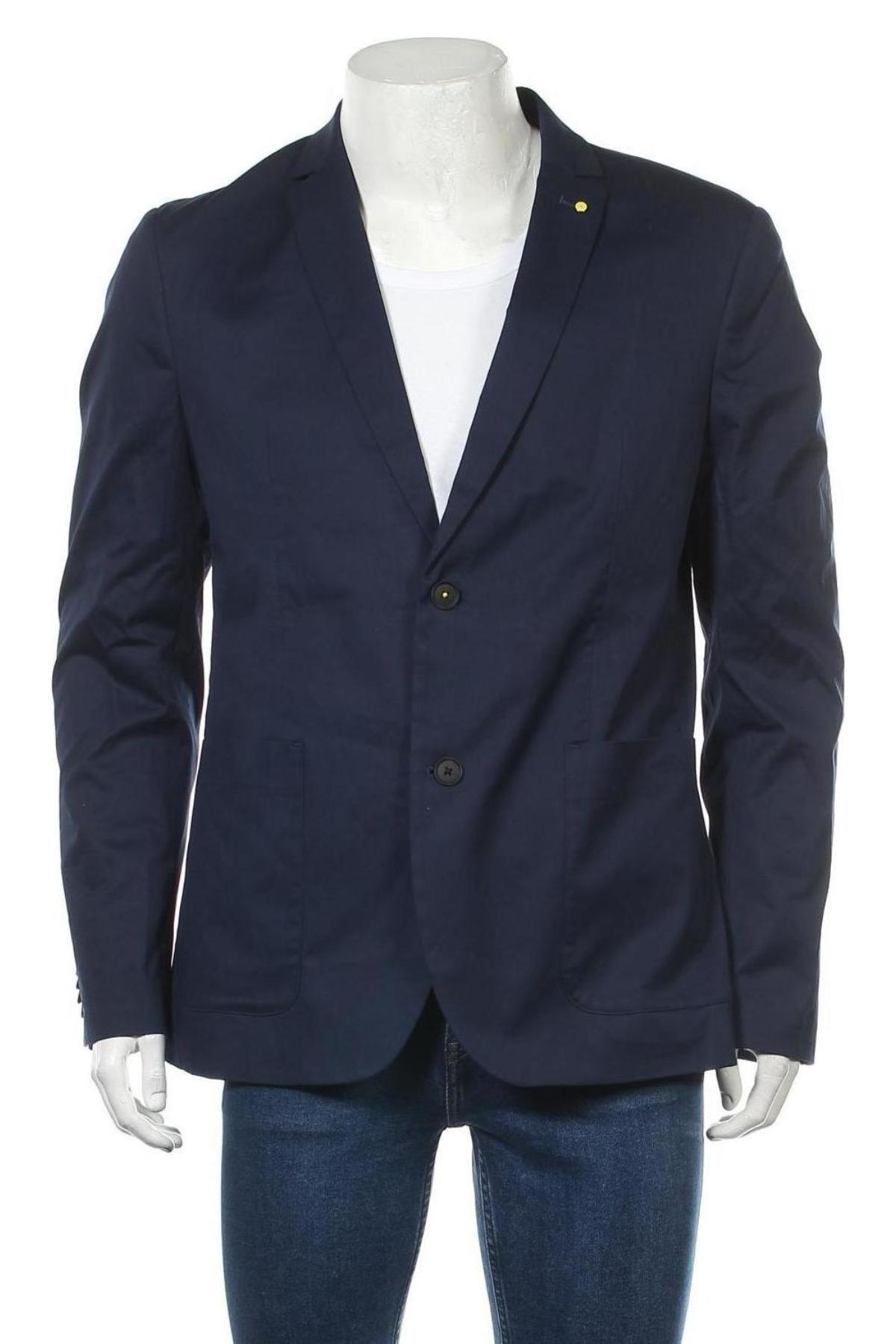 Мъжко сако Tom Tailor, Размер L, Цвят Син, 98% памук, 2% еластан, Цена 47,70лв.
