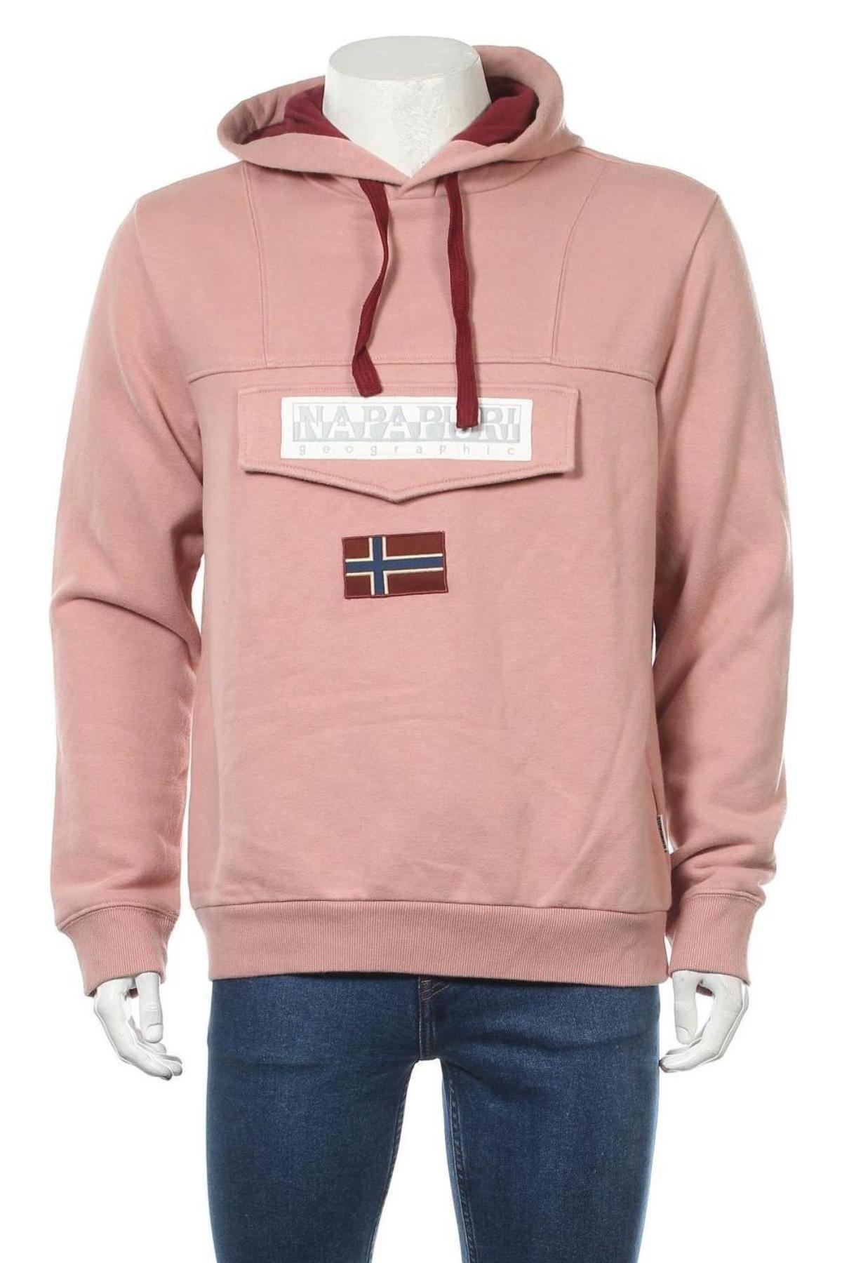 Мъжки суичър Napapijri, Размер L, Цвят Розов, 90% памук, 10% полиестер, Цена 91,08лв.