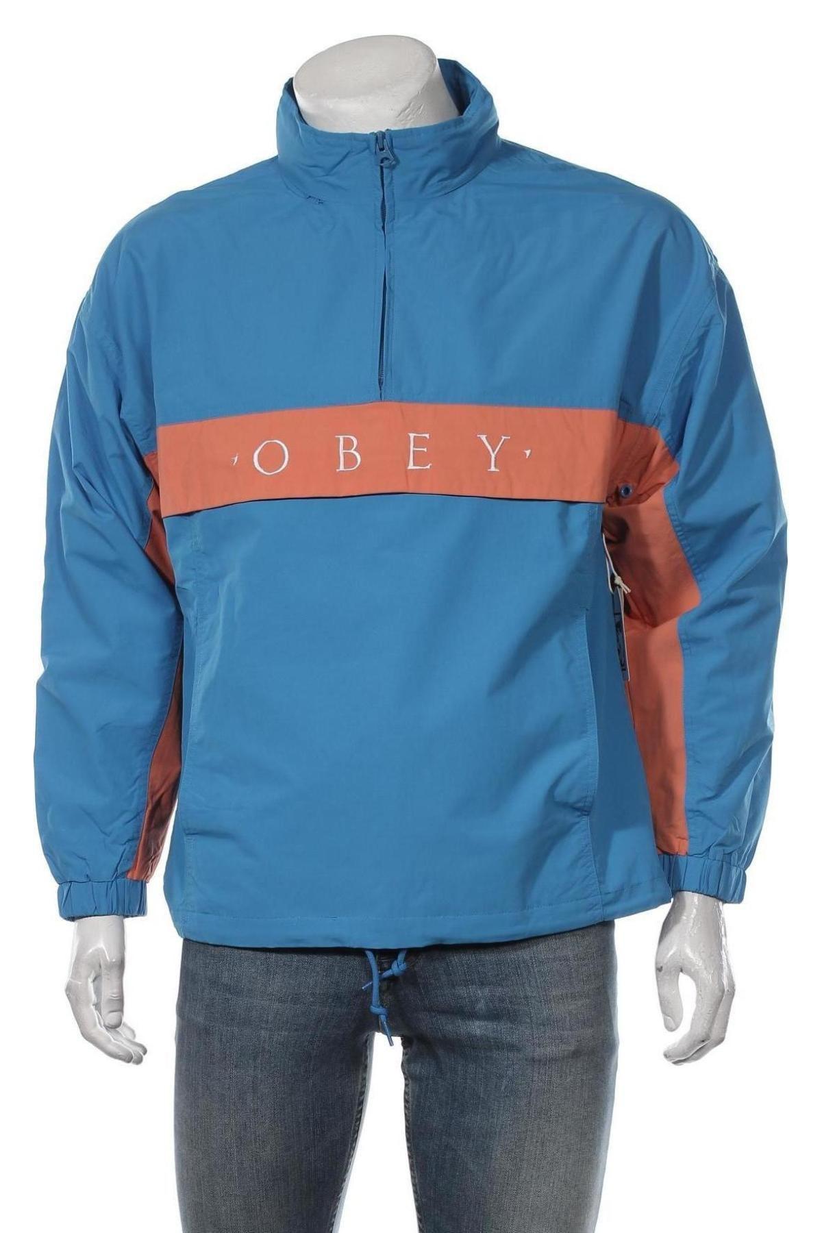 Мъжко спортно яке Obey, Размер M, Цвят Син, Полиамид, Цена 69,65лв.