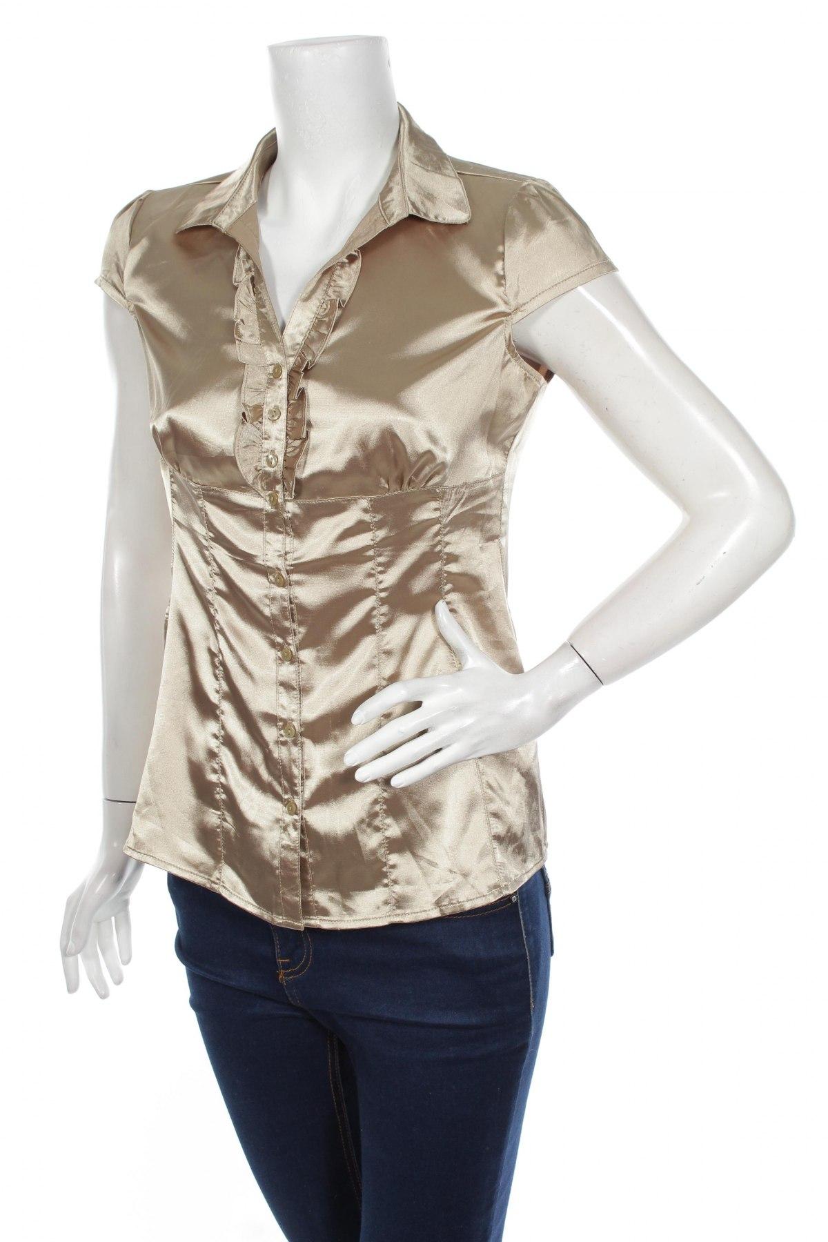 Дамска риза Moodo, Размер M, Цвят Златист, 100% полиестер, Цена 6,00лв.