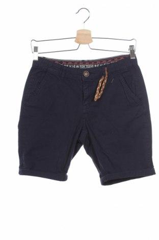 Детски къс панталон Review, Размер 12-13y/ 158-164 см, Цвят Син, Памук, Цена 22,10лв.