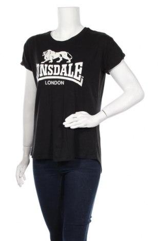 Дамска тениска Lonsdale, Размер L, Цвят Черен, Вискоза, памук, Цена 13,65лв.
