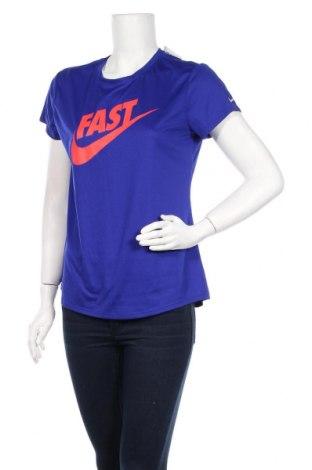 Дамска тениска Nike, Размер L, Цвят Син, Цена 36,39лв.