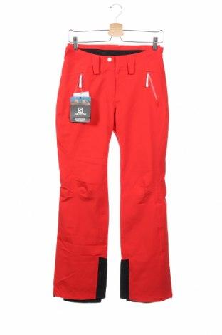 Дамски панталон за зимни спортове Salomon, Размер XS, Цвят Червен, 86% полиамид, 14% еластан, Цена 118,80лв.