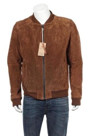 Мъжко кожено яке Redskins, Размер XXL, Цвят Кафяв, Естествен велур, Цена 155,40лв.