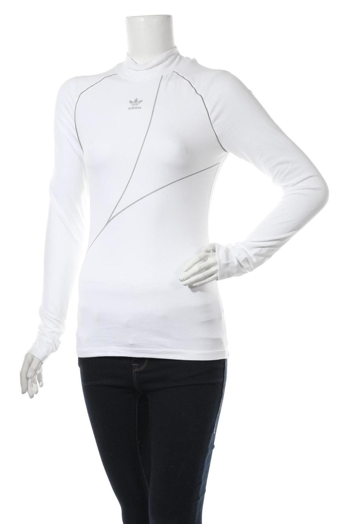 Дамска спортна блуза Adidas Originals, Размер S, Цвят Бял, 93% памук, 7% еластан, Цена 64,50лв.