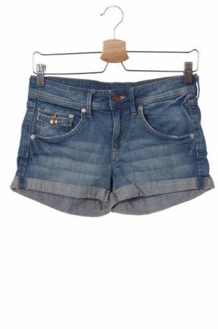 Дамски къс панталон H&M, Размер XS, Цвят Син, 99% памук, 1% еластан, Цена 19,50лв.