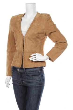 Дамско кожено яке Apart, Размер S, Цвят Бежов, Естествен велур, Цена 91,77лв.