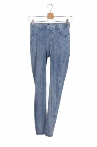 Dziecięce jeansy H&M, Rozmiar 13-14y/ 164-168 cm, Kolor Niebieski, 53% bawełna, 40% poliester, 7% elastyna, Cena 51,75zł