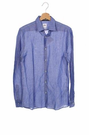 Męska koszula Zara, Rozmiar S, Kolor Niebieski, 68% tencel, 32% len, Cena 69,60zł