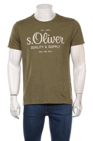 Мъжка тениска S.Oliver, Размер L, Цвят Зелен, Памук, Цена 21,60лв.