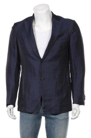 Мъжко сако Isaia, Размер S, Цвят Син, 55% лен, 45% памук, Цена 132,30лв.